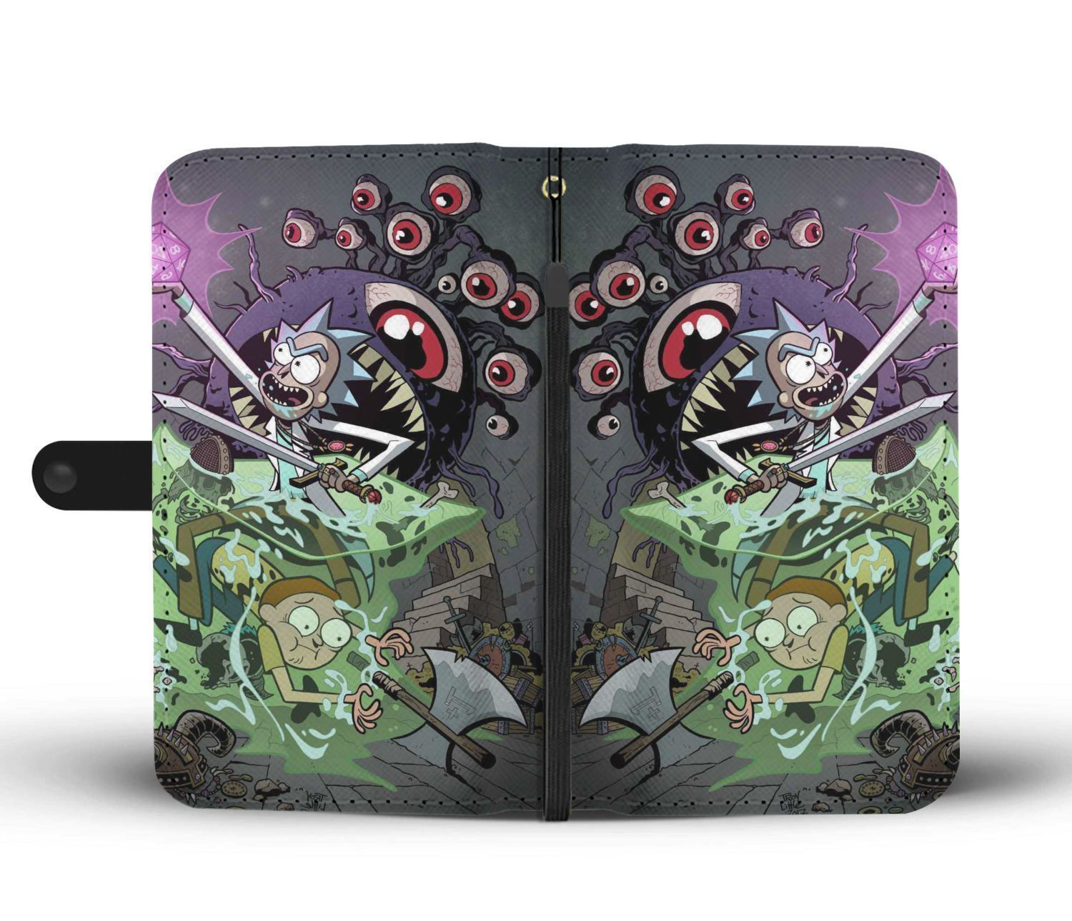 cbd439f4 Rick And Morty With Dungeons And Dragons Wallet Phone Cases ...