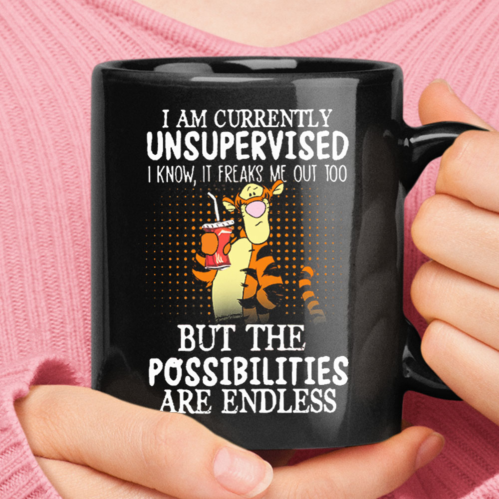 Currently Unsupervised It Freaks Me Out Tigger Winnie the Pooh Black Mug 1