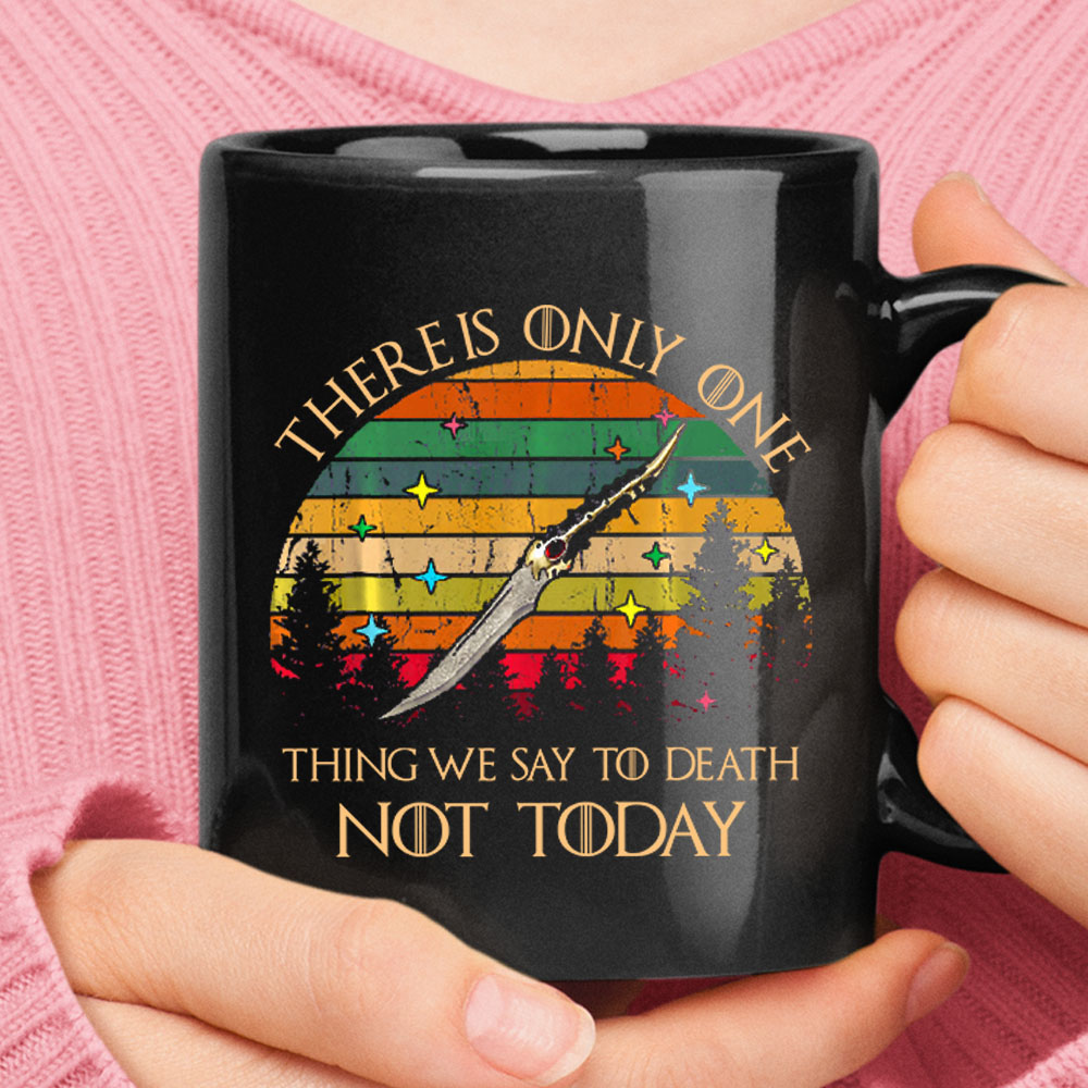 One Thing We Say To Death Not Today Game Of Thrones Vintage Black Mug 1