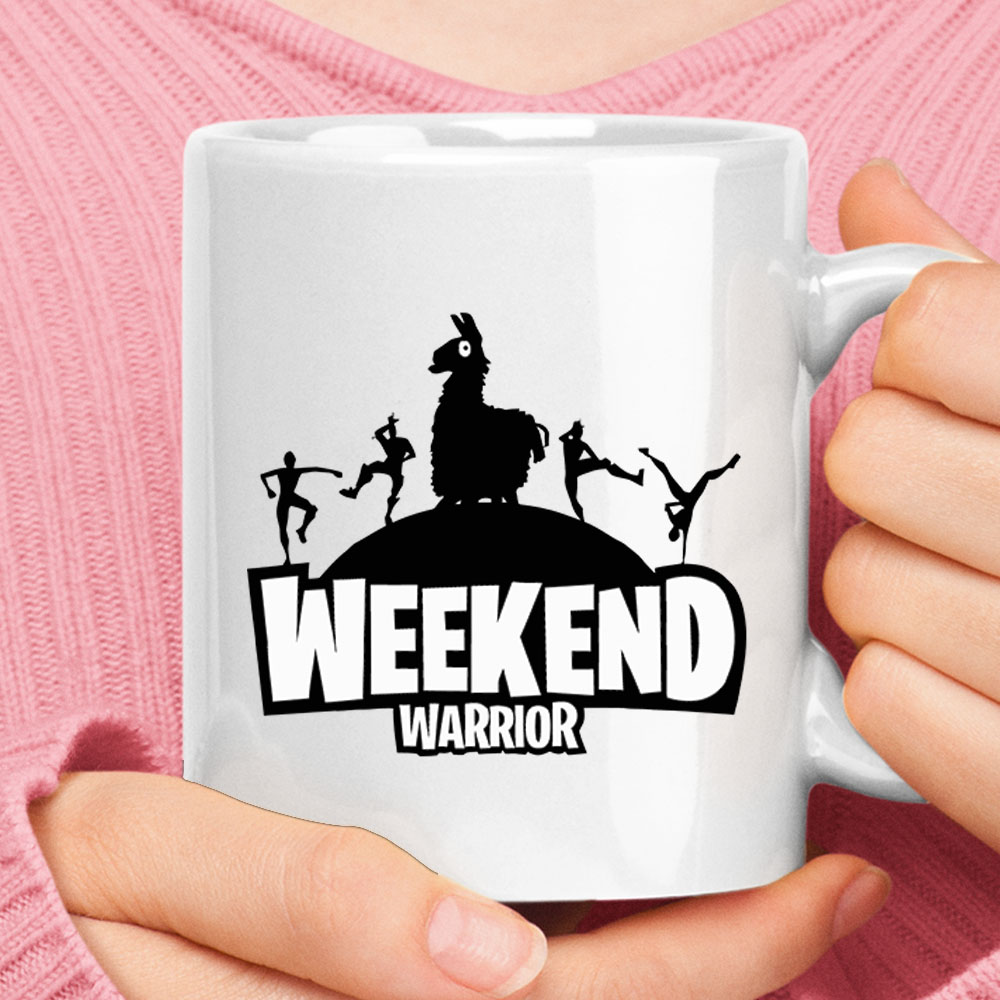 Weekend Warrior Fortnite Llama Gamer White Mug 1
