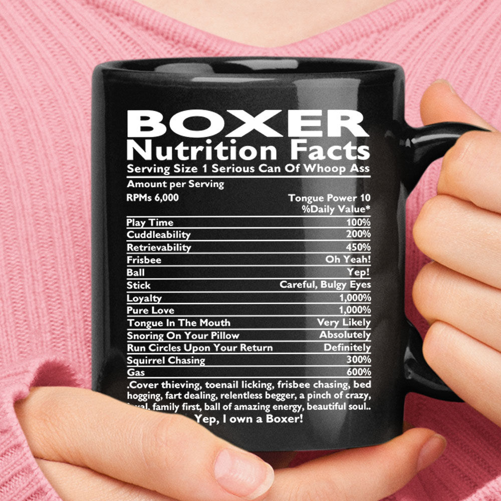 Boxer Nutrition Facts 1 Serious Can Of Whoop Ass Black Mug 1
