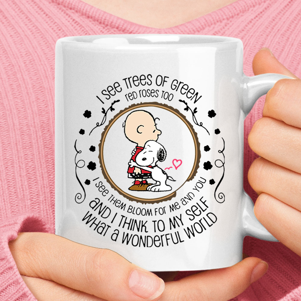 I See Tree Of Green Red Rose Too Charlie Brown And Snoopy Mug 1