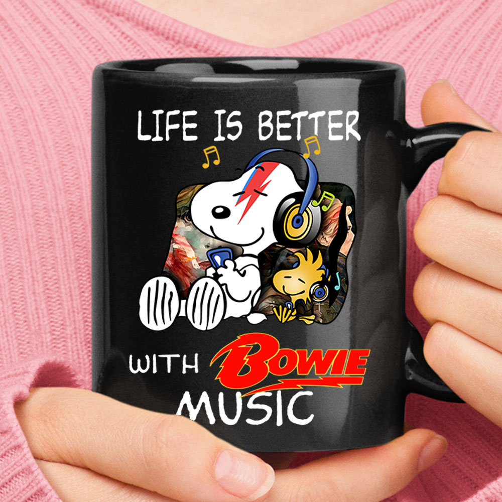 Life Is Better With Bowie Music Relaxing Woodstock And Snoopy Mug 1