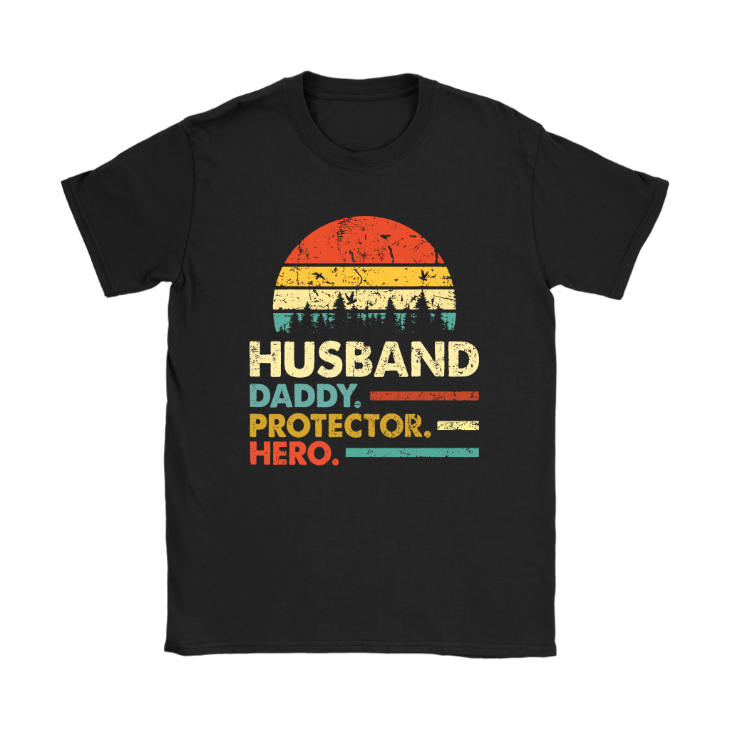 Husband Daddy Protector Hero Father's Day Vintage Shirts 5