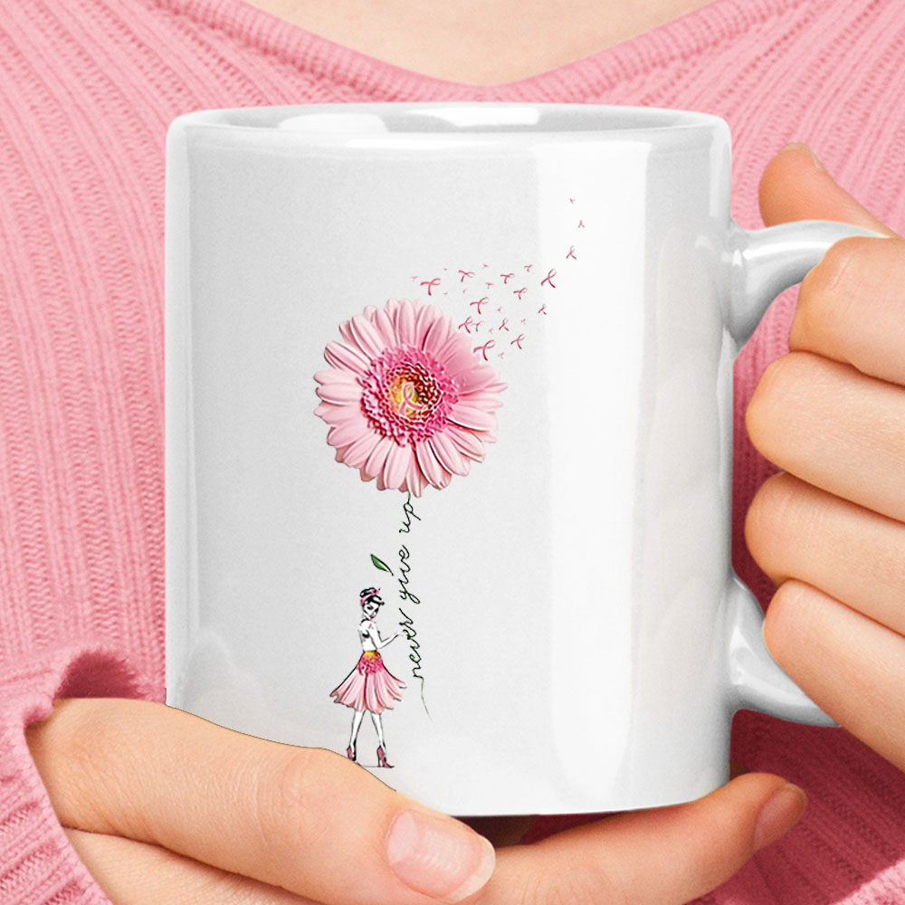 Never Give Up Daisy Pink Ribbon Breast Cancer Awareness Mug 1