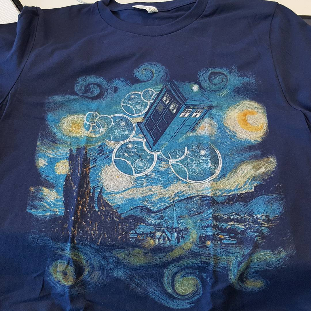 Doctor Who TARDIS In Starry Night Painting Sky Shirts photo review