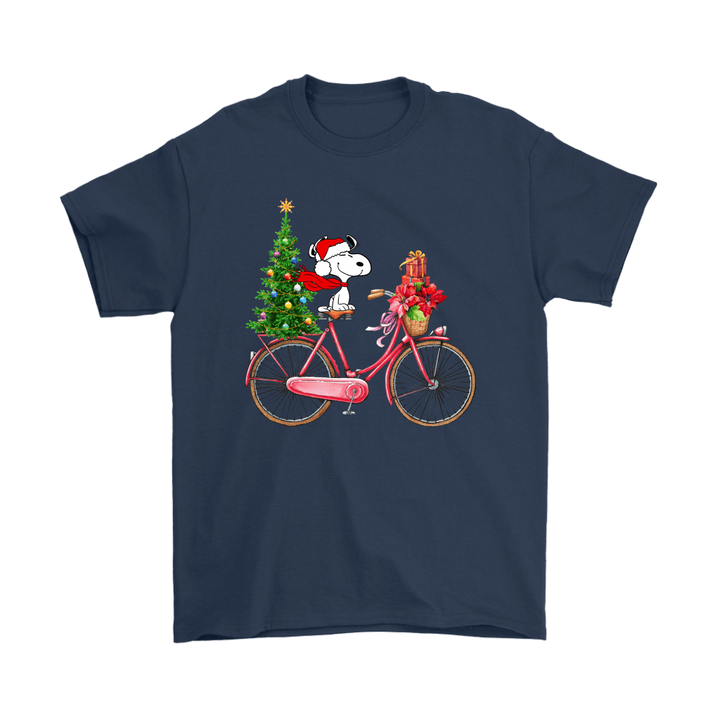 Enjoy The Bicycle Ride It's Christmas Time Snoopy Shirts 3