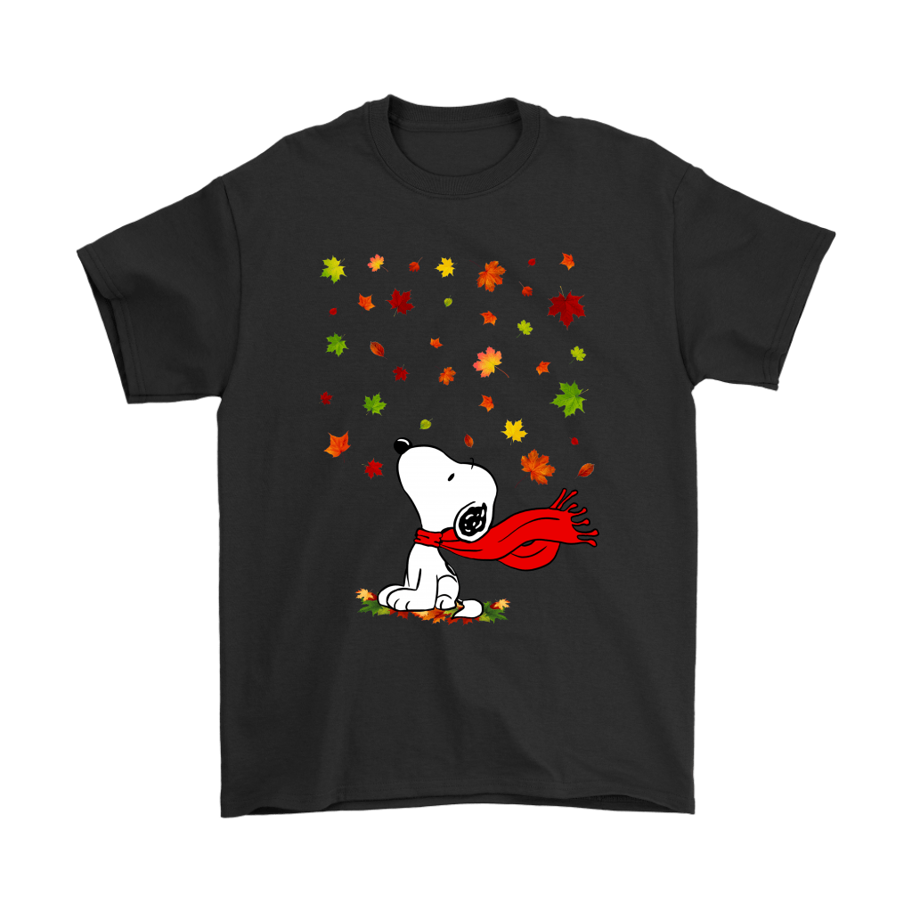 Autumn Maple Leaves Falling Red Scarf Snoopy Thanksgiving Shirts 1