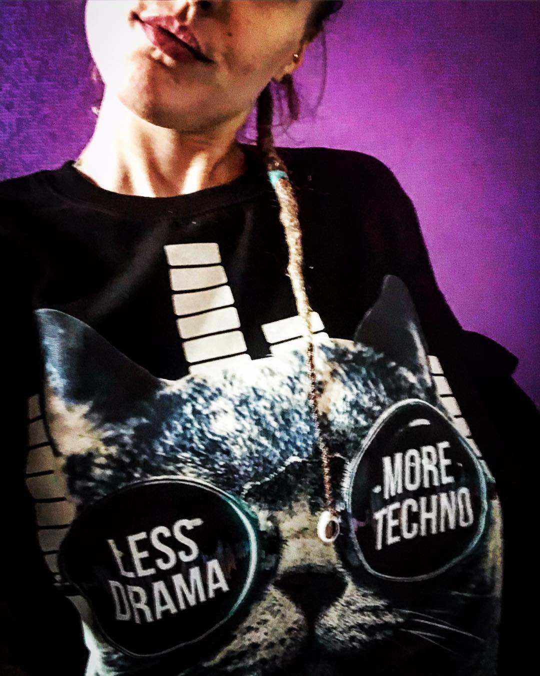 Less Drama More Techno Sunglasses Cat Shirts photo review