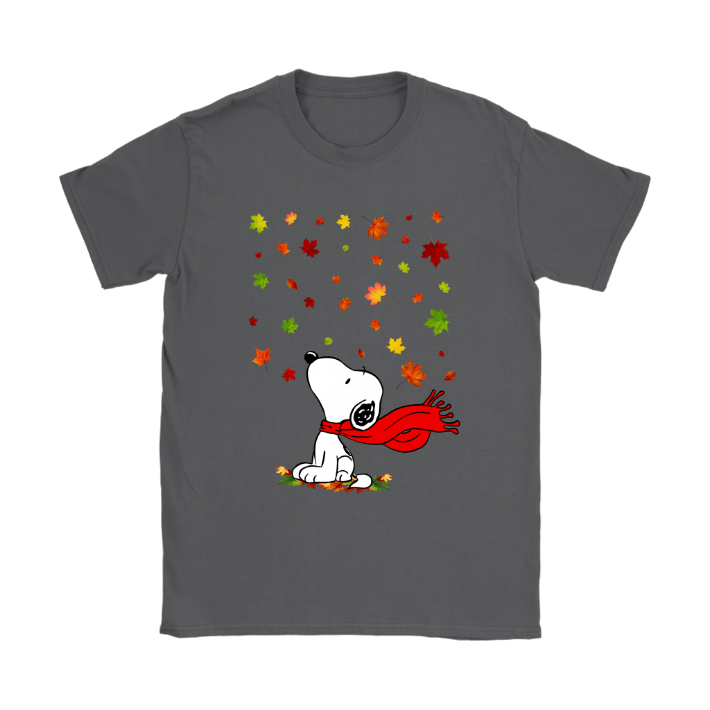 Autumn Maple Leaves Falling Red Scarf Snoopy Thanksgiving Shirts 7