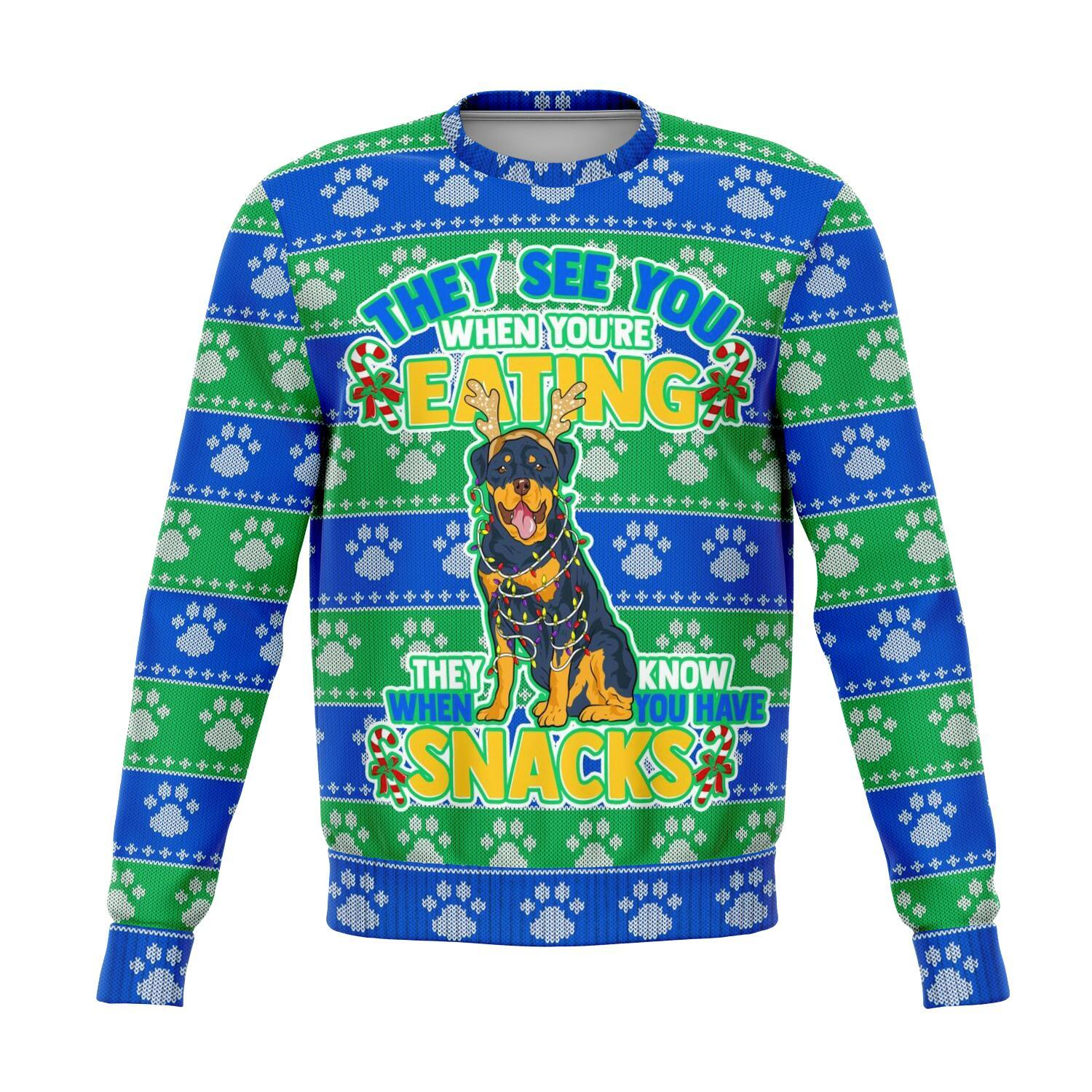 Rottweiler See You Eating Snacks All-Over Printed Sweaters 1