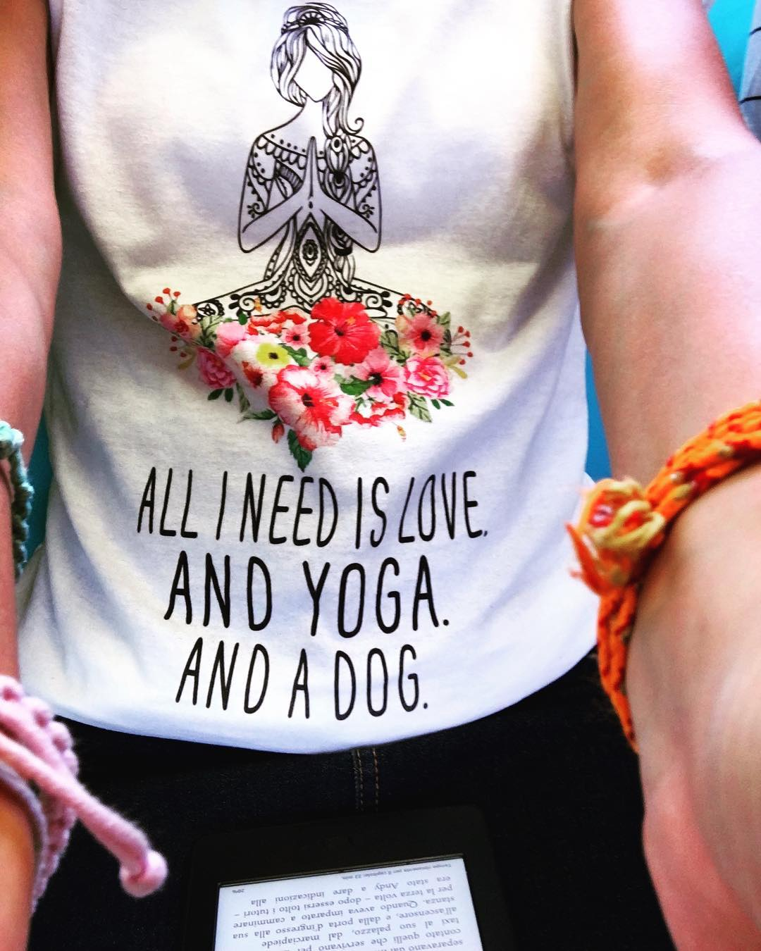 All I Need Is Love And Yoga And A Dog Girl Yoga Floral Shirts photo review