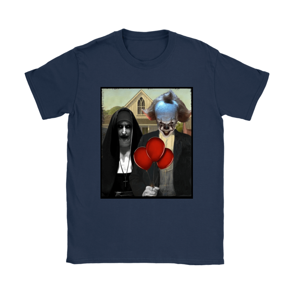 The Nun Valak And Pennywise Horror Mashup Shirts 9
