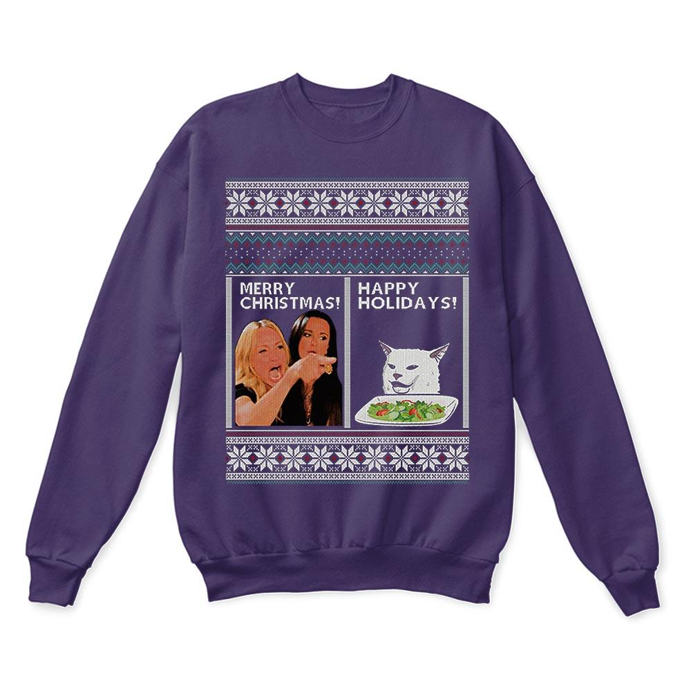Woman Yelling At A Cat Merry Christmas Or Happy Holiday Ugly Sweaters 2