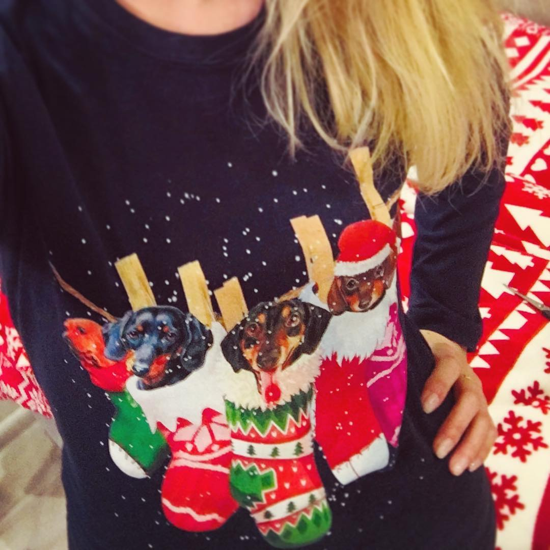Dachshunds In Christmas Stockings Happy Holiday Shirts photo review