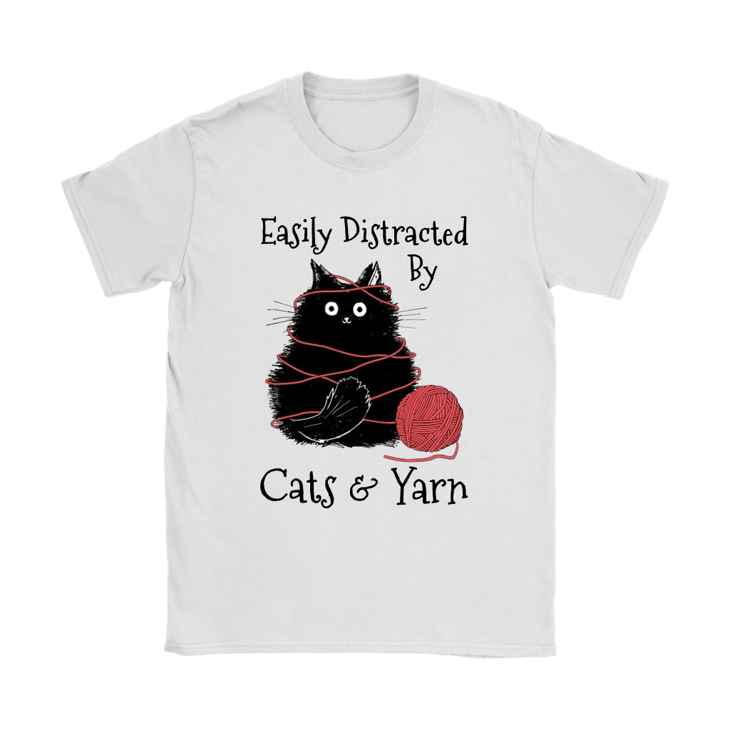 Easily Distracted By Cat & Yarn Black Cat Shirts 2