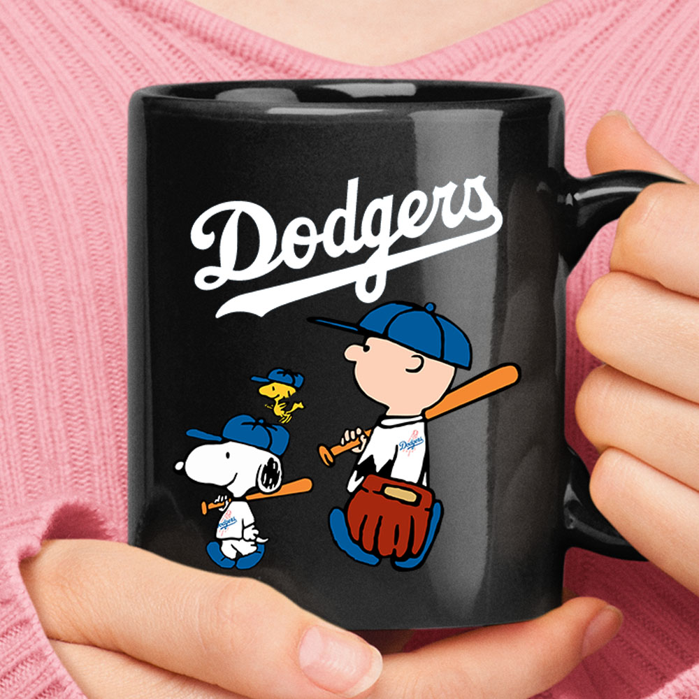 Los Angeles Dodgers Let's Play Baseball Together Snoopy MLB Mug 1