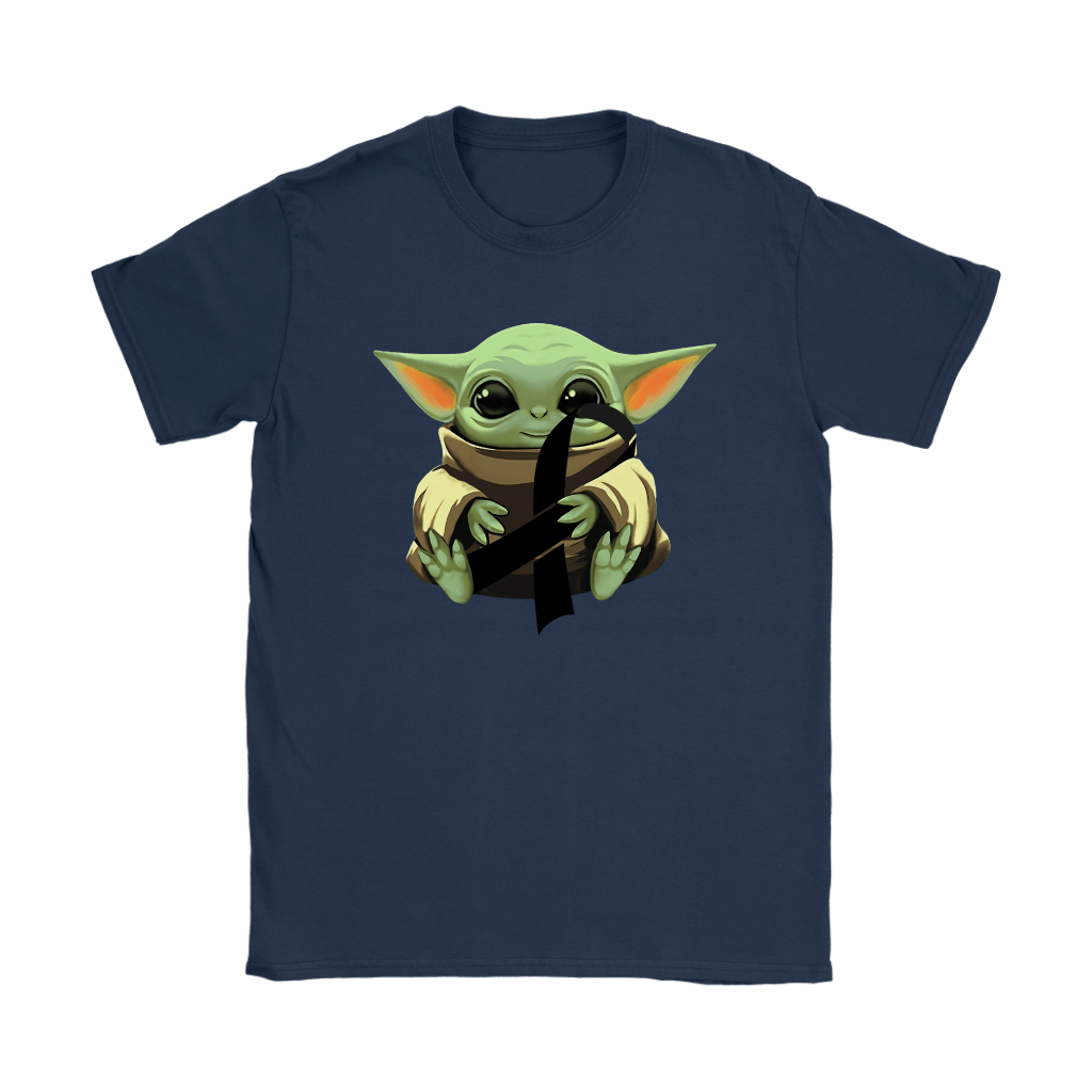 Baby Yoda Hugs Black Ribbon Honors Melanoma Awareness Shirts 23