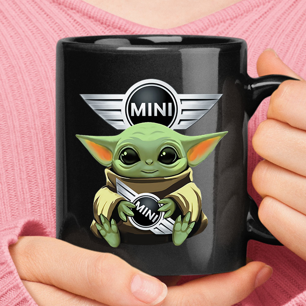 Baby Yoda Hugs Mini-Cooper Car Logo Star Wars Mug 1