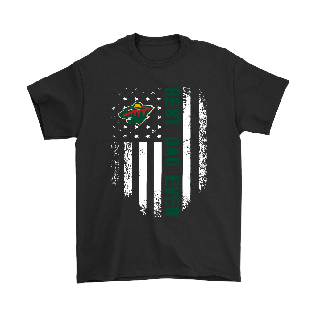 American Flag Best Dad Ever The Minnesota Wild Father Shirts 1