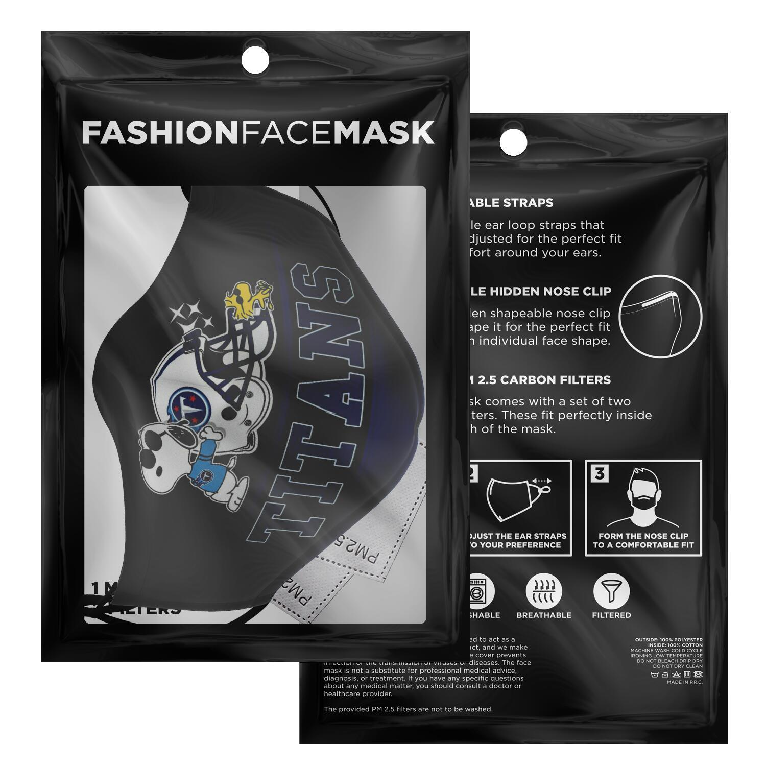 Snoopy Joe Cool Tennessee Titans Face Mask 2