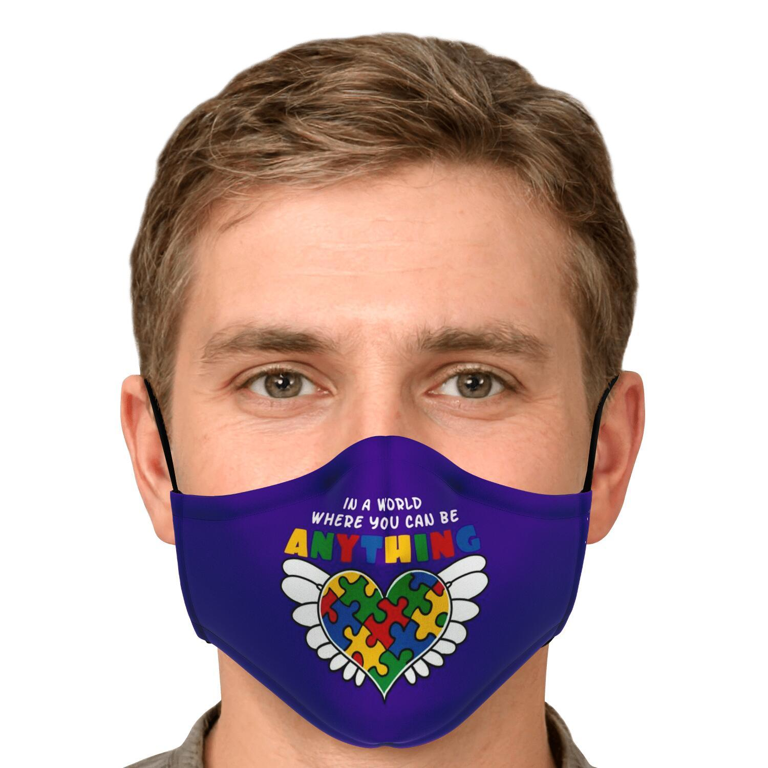 In A World Where You Can Be Anything Be Kind Autism Awareness Face Mask 4