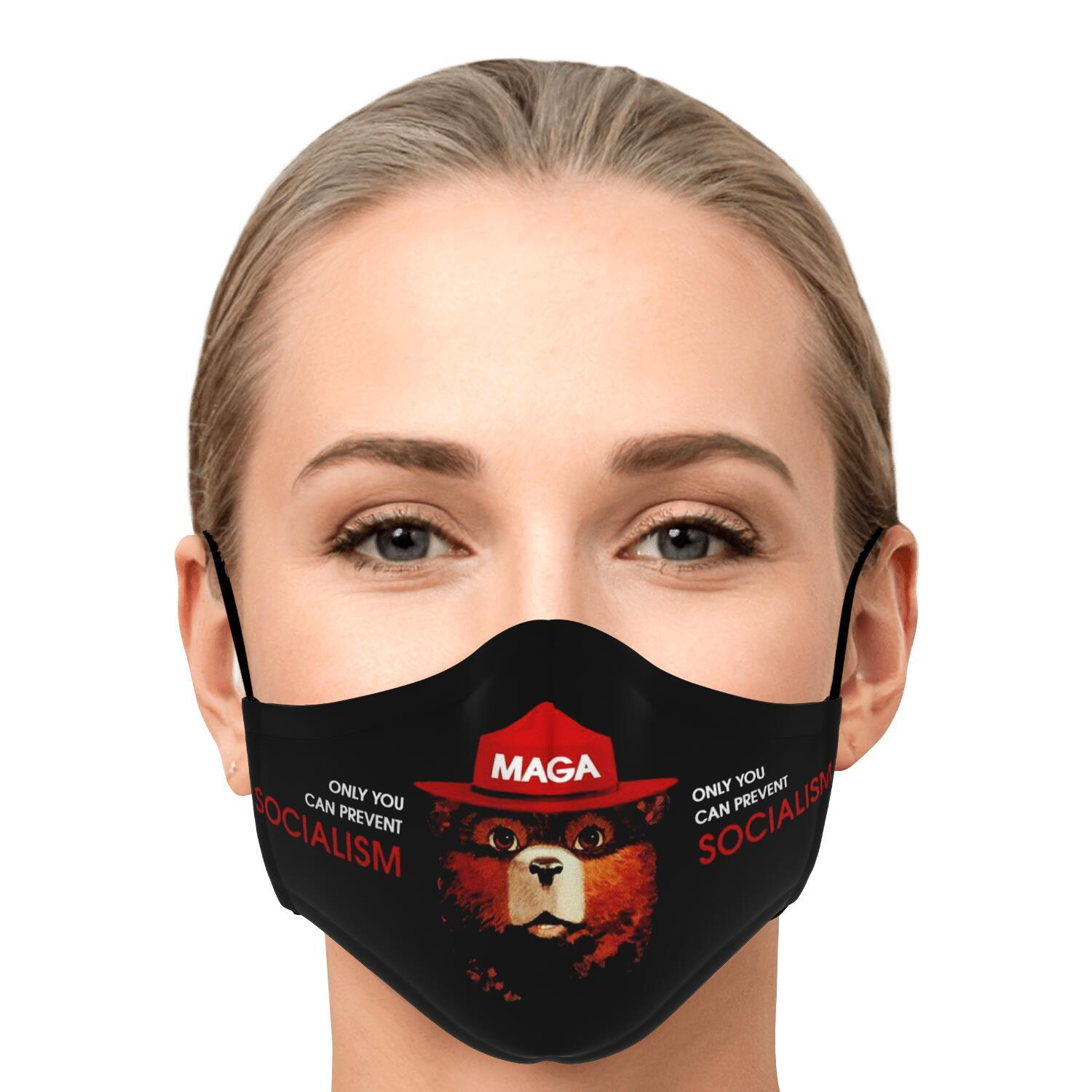 Only You Can Prevent Socialism MAGA Smokey The Bear Face Mask 1