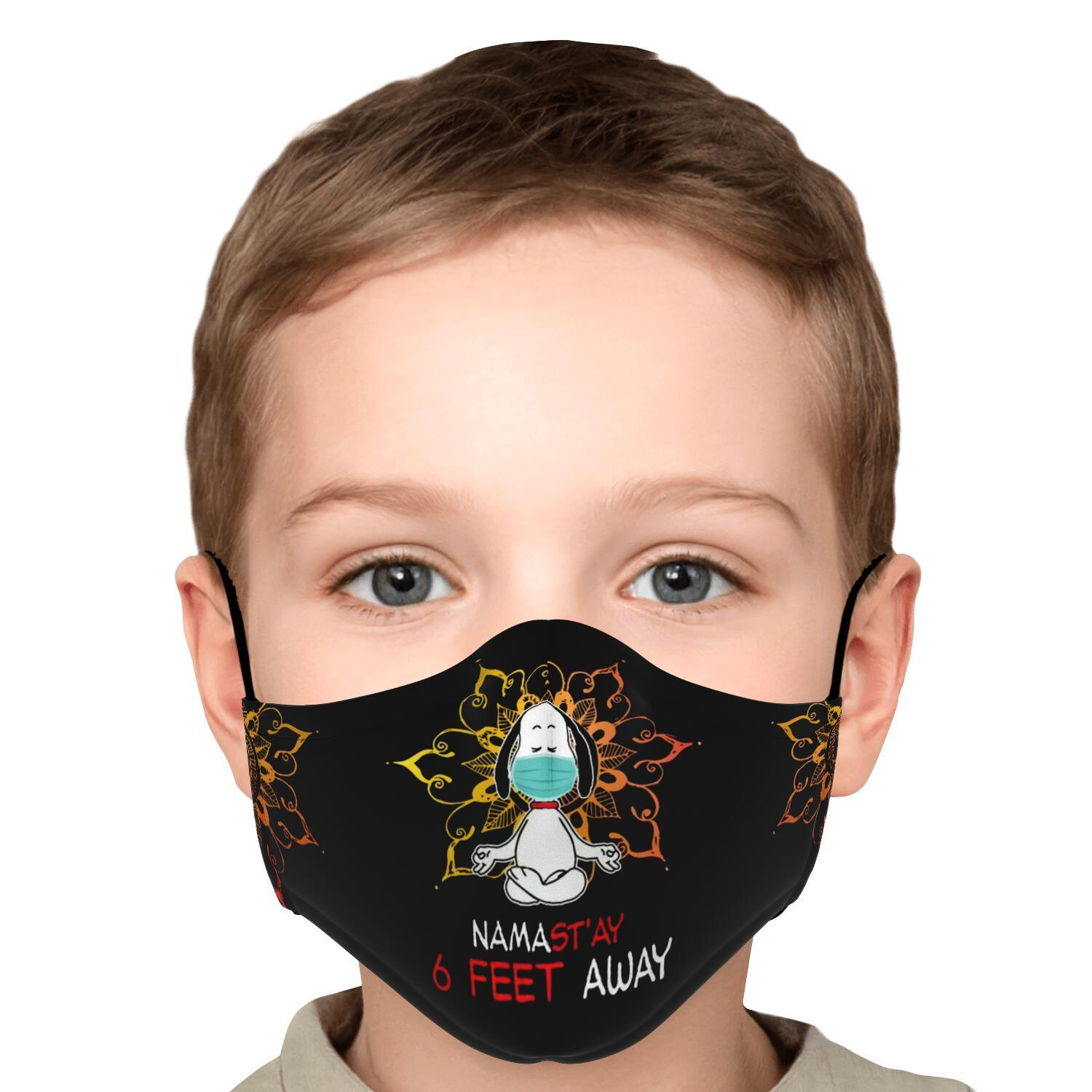 Namast'ay 6 Feet Away Corona Virus Snoopy Face Mask 6