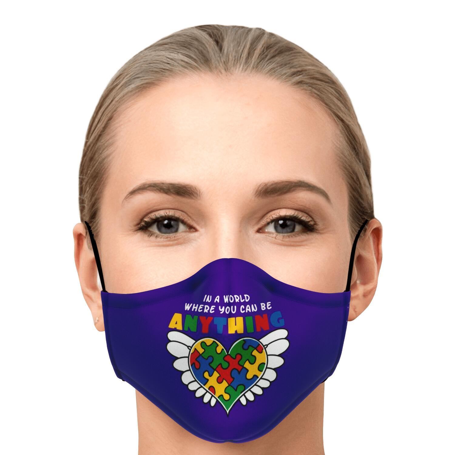 In A World Where You Can Be Anything Be Kind Autism Awareness Face Mask 1