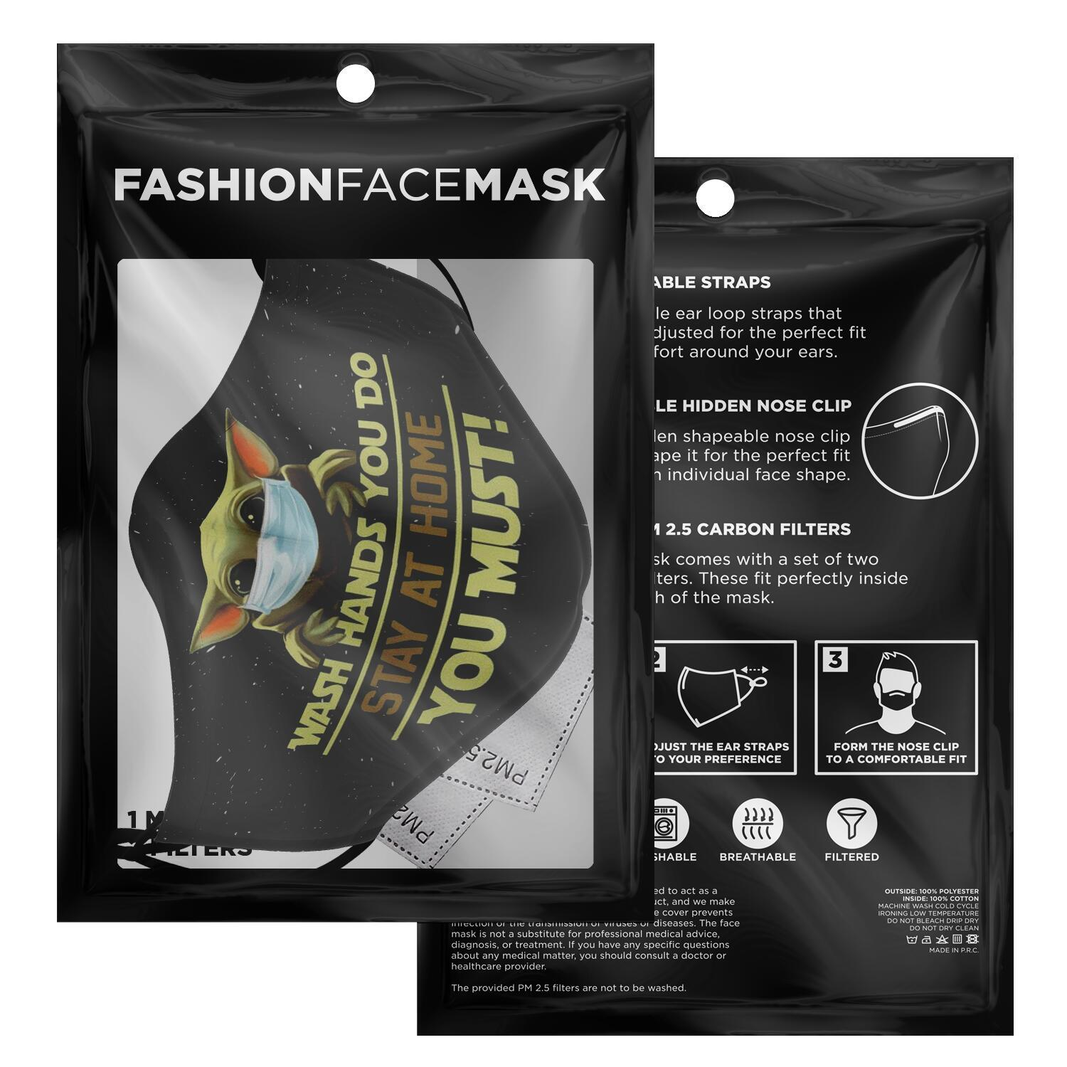 Wash Hand You Do Stay At Home You Must Baby Yoda Face Mask 2