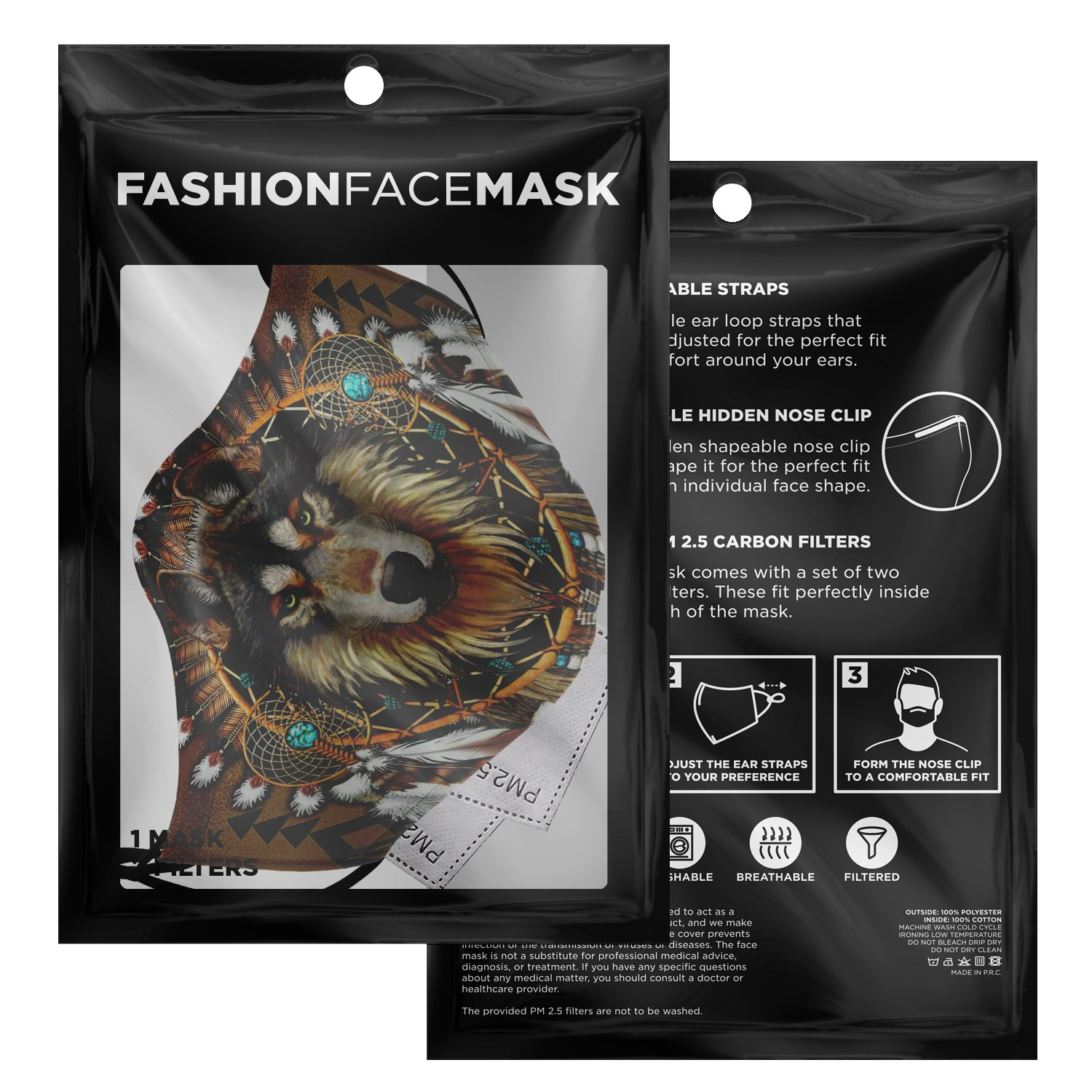Wolf Leader Navtive American Face Mask 3