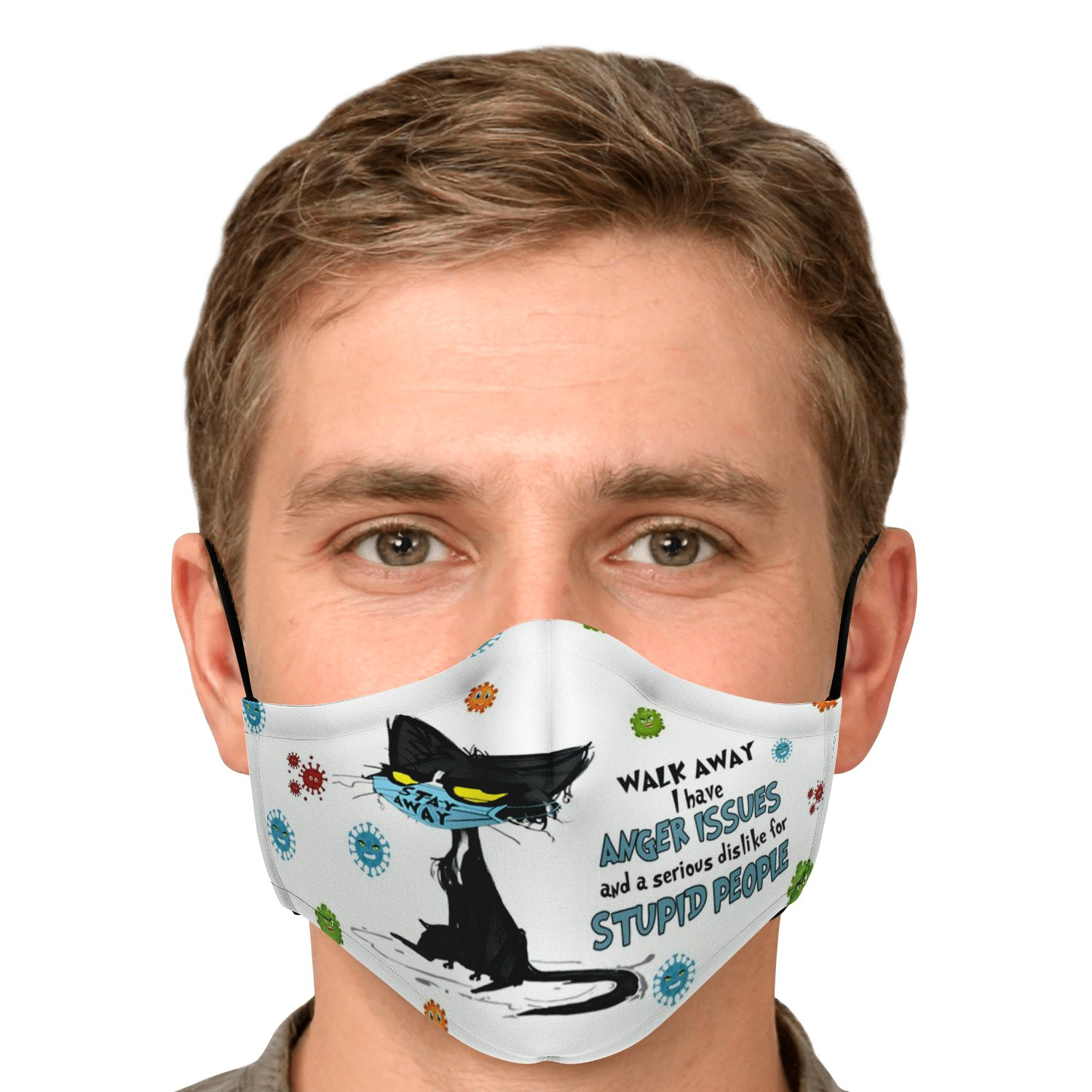 Walk Away Stupid People Black Cat Face Mask 5