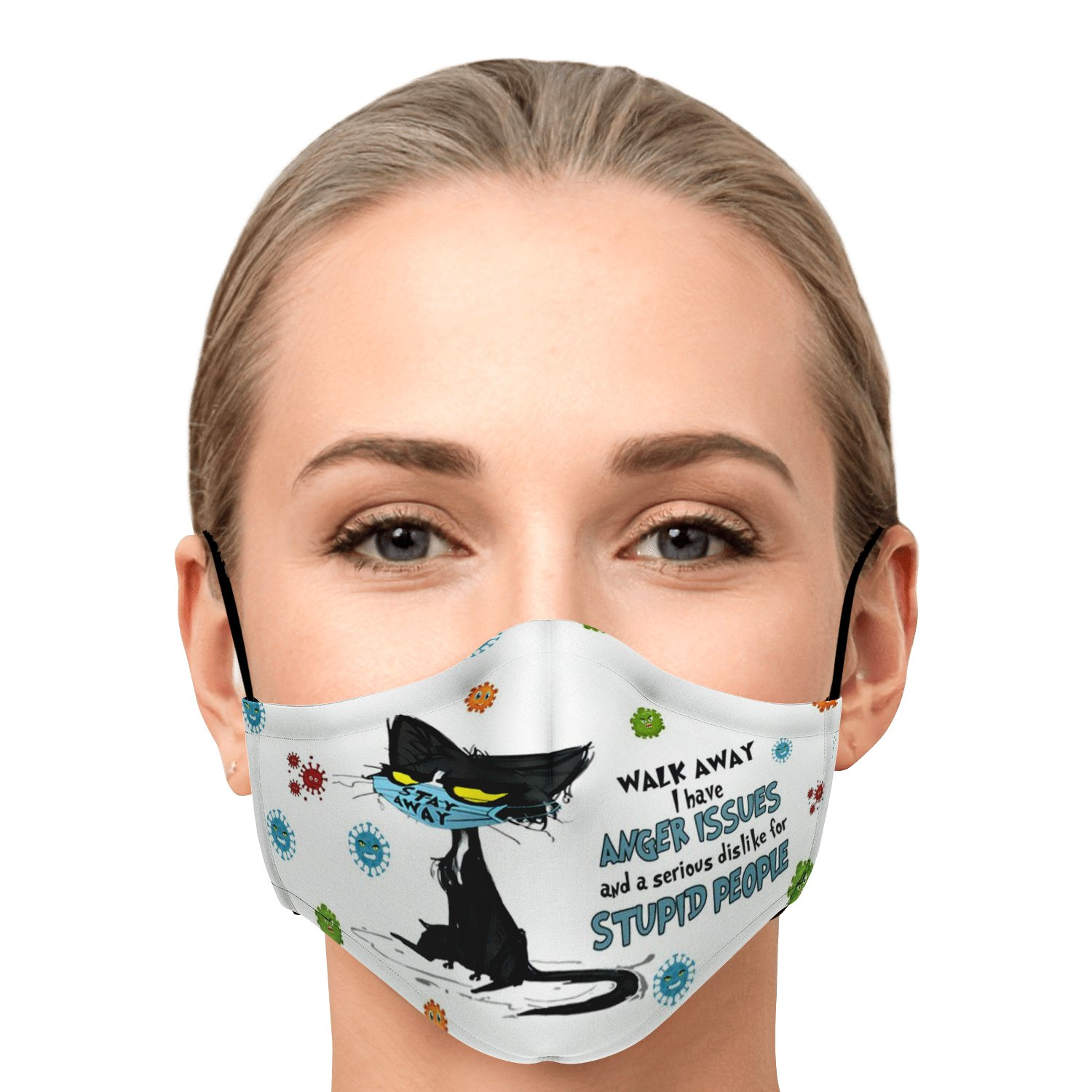 Walk Away Stupid People Black Cat Face Mask 1