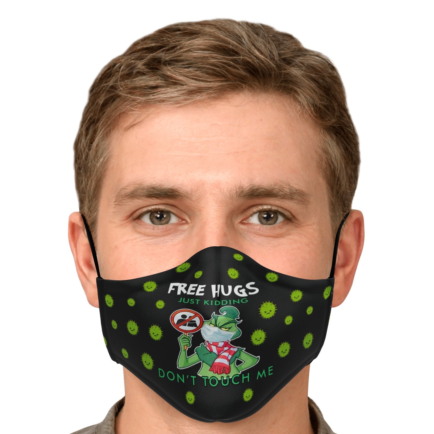 Free Hugs Just Kidding Don't Touch Me The Grinch Face Mask 5