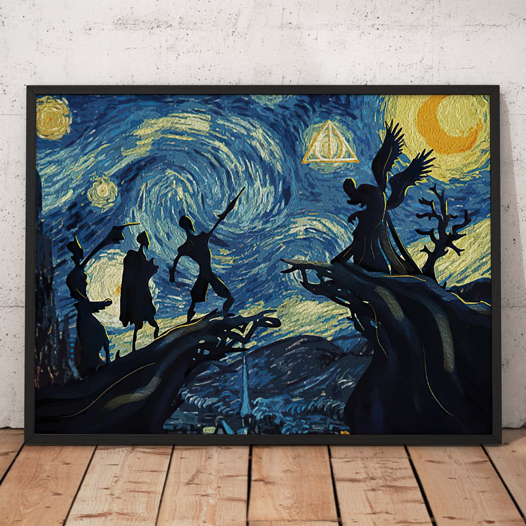 The Tale Of The Three Brothers Deathly Hallows Harry Potter Starry Night Poster 1