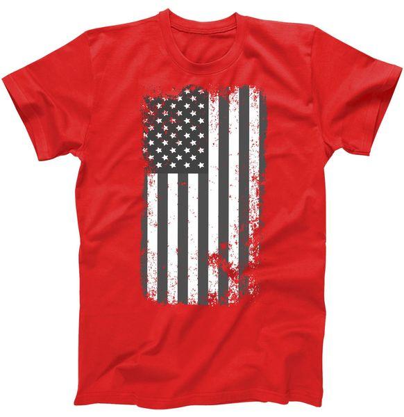 Grey Style Vintage torn USA American Flag T-Shirt, USA, USA T-Shirt