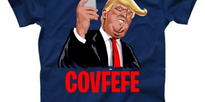 Trump Tweeting Covfefe Funny T-Shirt, Covfefe