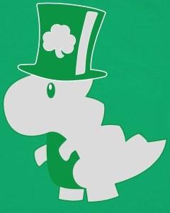 Irish T-Rex Dinosaur Clover Cute St. Patrick's Day Baby Bodysuit