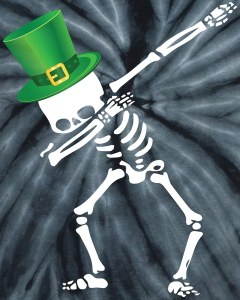 Irish Dabbing Skeleton St. Patrick's Day Kids Tie-Dye T-Shirt