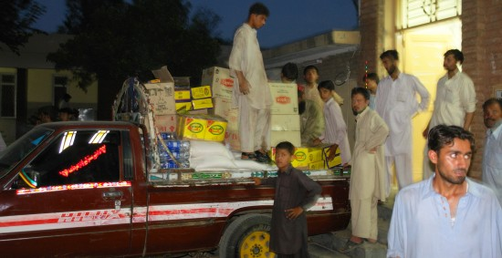 Truck being loaded with Relief Goods