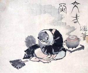 Hokusai_tea-kettle_raccoon