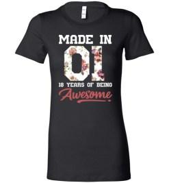 $19.95 – 18 Years Old Birthday Girl Shirts Born in 2001 18th Birthday Lady T-Shirt
