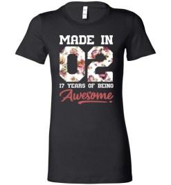 $19.95 – 17 Years Old Birthday Girl Shirts Born in 2002 17th Birthday Lady T-Shirt