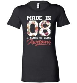 $19.95 – 11 Years Old Birthday Girl Shirts Born in 2008 11th Birthday Lady T-Shirt