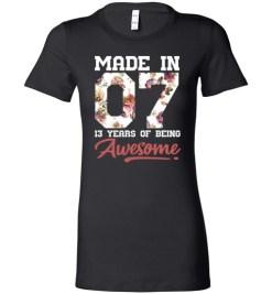 $19.95 – 13 Years Old Birthday Girl Shirts Born in 2007 13th Birthday Lady T-Shirt