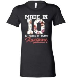 $19.95 – 10 Years Old Birthday Girl Shirts Born in 2010 10th Birthday Lady T-Shirt