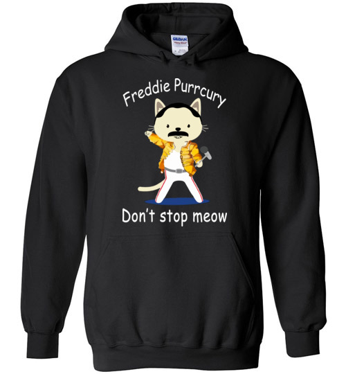 $32.95 - Funny Freddie Purrcury Don't Stop Meow Hoodie