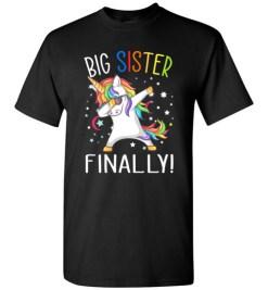 $18.95 – Funny Family Shirts: Unicorn dabbing Big Sister Reveal T-Shirt