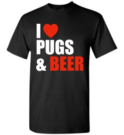 $18.95 – Pug Dog Owners Gift I Love Beer & Pugs T-Shirt