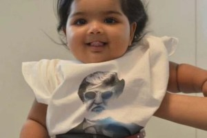 Cute baby in kabali T-shirt